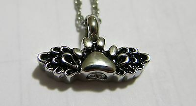 Cremation Pet Paw with wings Necklace Urn Jewelry Memorial chain