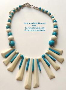 Courageux Collier Artisanal Ethnique En Promotion Turquoise Et Ecru*