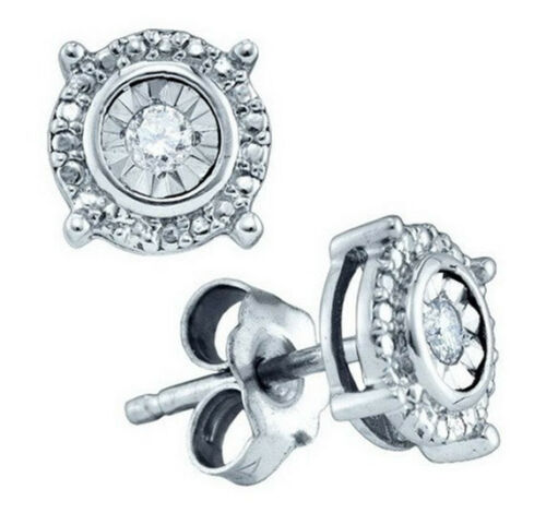 Mens Ladies White Gold Finish Genuine Round Diamond 4 Prong Studs Earrings