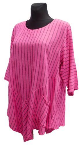 Longshirt 3 Tunika Arm Pink 46 stil 44 Mexxoo grau Zipfelig 4 gestreift Leinen A Fpg5wzxwq