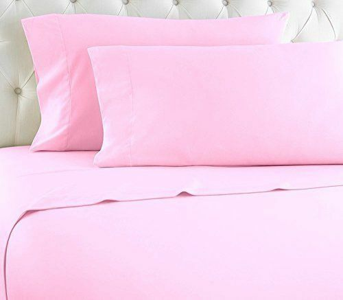 Luxurious 4 PCs Sheet Set In All Size 100% Pima Cotton 1000 TC Pink Solid