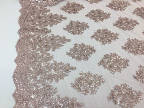 Dusty Rose Embroidered Fabric By The Yard Sequins Lace Bridal Mesh Wedding