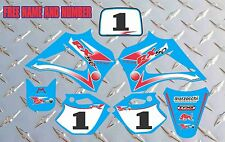 R2 R3 LX3 LEM DECALS GRAPHICS STICKERS  2003-2012 RX 65 150 LIGHT BLUE AND RED
