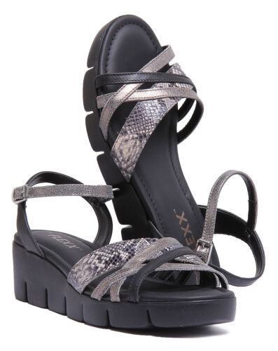 Strappy Emoticon Rock Leather Women The Wedge Flexx Black Gold Sandals HgCq05HRaw