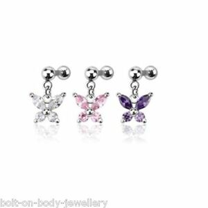 Helix Bar Branched Butterfly Tragus Cartilage Ear Stud ~6mm x 1.2mm