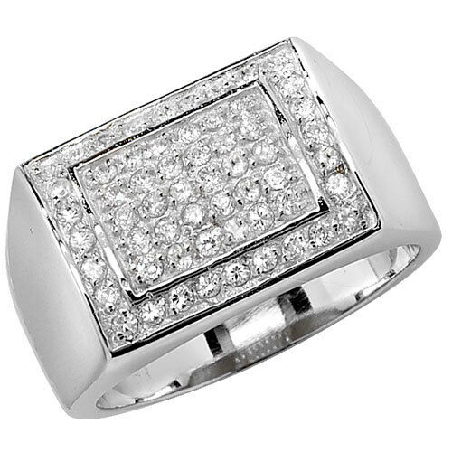 Engagement Ring Men's Gents Solid Sterling Silver Cubic Zirconia Signet size RW