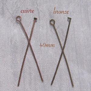 Lot-de-100-tiges-clous-tete-plate-ou-boucle-oeil-40mm-4cm-metal-bronze-cuivre