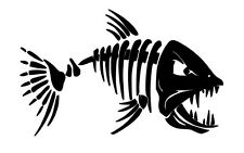Scary Skeleton FIsh Vehicle Car Decal Tackle Box Sticker Laptop (REF 170)