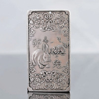 Chinese Collection Tibet Silver Hand Carved Chinese Zodiac Pendant - Rabbit