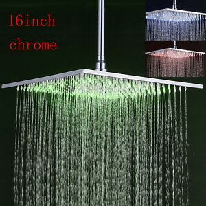 """Wall//Ceiling Mounted 6/"""" Rainfall Shower Head Polished Chrome Round Top Sprayer"""