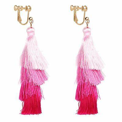 Bohemian Layered Tassel Clip on Earring Colorful Tiered Thread Jewelry Dangle Long Drop Women