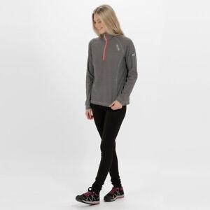 Regatta-Mujer-Polar-Top-Gris-Deportes-al-Aire-Libre-Montes-Half-Zip-Transpirable