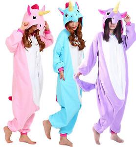 Details about Adult Unicorn Kigurumi Pajamas Animal Cosplay Costume Unisex One  Piece Sleepwear 835726d92490