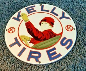VINTAGE-KELLY-TIRES-PORCELAIN-SERVICE-STATION-AUTO-GAS-DEALER-PUMP-SIGN