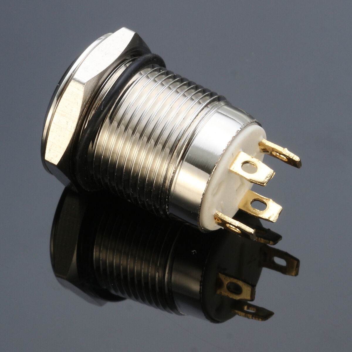 Details about 12V Chrome 4 Pin Led Light 12mm Metal Push on Momentary on