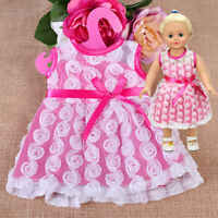 "Handmade Pink Doll Dress Skirt clothes dress fit 18 "" American girl doll party"