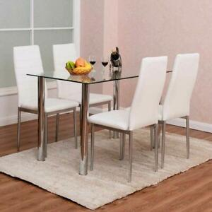 5-PIECES-DINING-TABLE-WHITE-GLASS-TABLE-AND-4-CHAIRS-FAUX-LEATHER-DINNING-SET
