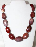 Jay King Chunky Purple Brown Jasper Sterling Silver 20+3 Beaded Necklace