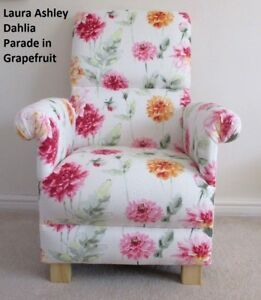 Image Is Loading Laura Ashley Dahlia Parade Pink Grapefruit Fabric Chair