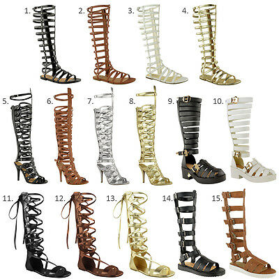 Hingebungsvoll Ladies Womens Knee High Gladiator Sandals Strappy Beach Shoes Cut Out Boots Size