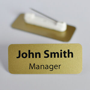 Details about Set Of 10 Personalised Name Badges  PVC  Metallic Gold Colour