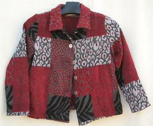 Petite S Red/Gray/Black Chenille STUDIO WORKS Animal Print Design JACKET $5.50SH