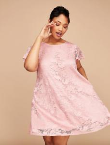 Lane-Bryant-Flutter-Sleeve-Swing-Dress-Plus-14-16-18-10-Deep-Blush-Pink-1x-2x