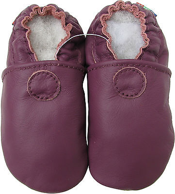 carozoo solid purple 3-4y soft sole leather baby shoes
