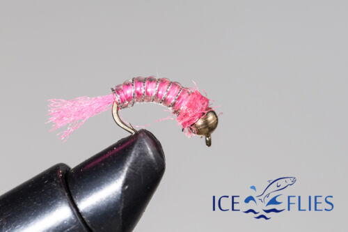 ICE FLIES. Nymph. Rollan, Pink. (4-pack). Available in size 8 - 14