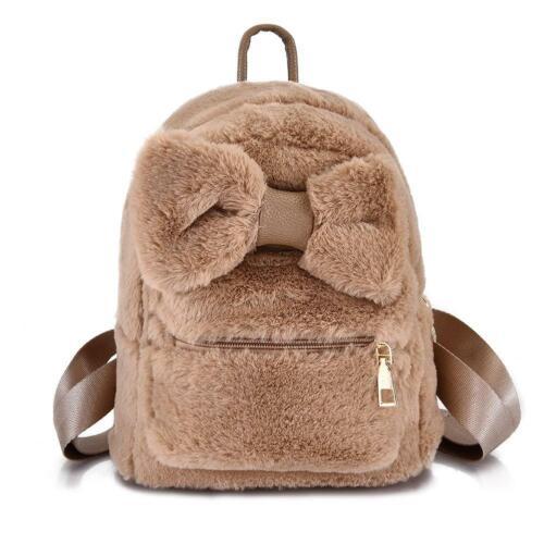 Women Girls Bowknot Backpack Plush School Bag Handbag Kids Handbag Tote Satchel