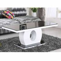 MODERN HIGH GLOSS WHITE AND BLACK WITH GLASS TOP COFFEE TABLE RAPID|DELIVERY
