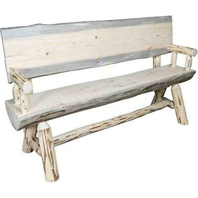 4 Foot Clear Lacquer Finish Montana Woodworks Montana Collection Half Log Bench