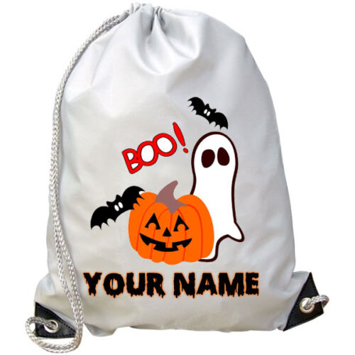 GREAT KIDS NAMED PARTY GIFT HALLOWEEN PERSONALISED PUMPKIN GHOST GYM  BAG