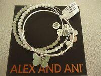 Alex And Ani Butterfly Set Of 3 Charm Bracelets Shiny Silver W/tag Card Box