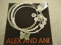 Alex And Ani Butterfly Set Of 3 Charm Bracelets Shiny Silver W/tag Card Box