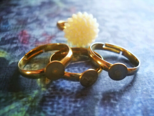 4 Adjustable Ring Blanks Gold Settings Brass with Pad Glue on Rings Wholesale