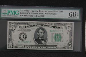 1934 C $5 Fr 1959-BW PMG 66 EPQ Superb Gem Uncirculated New York