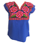 Floral-Mexican-Blouse-Embroidered-Authentic-Handmade-Cotton-Blue thumbnail 1