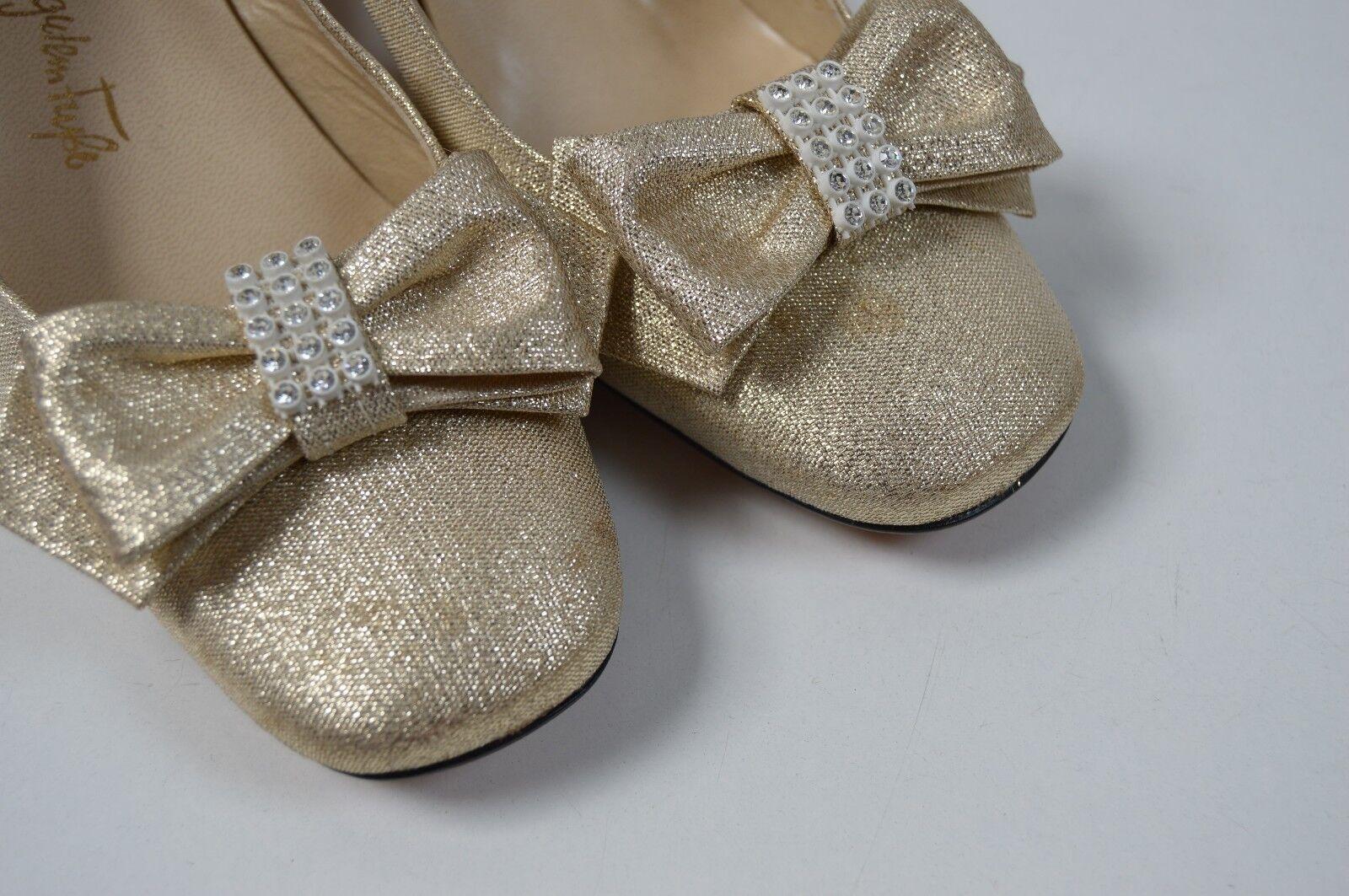 GÖRTZ Damen Slingbacks Pumps 80s NOS 70er True Vintage 80s Pumps Sandalen gold block heel f6d129