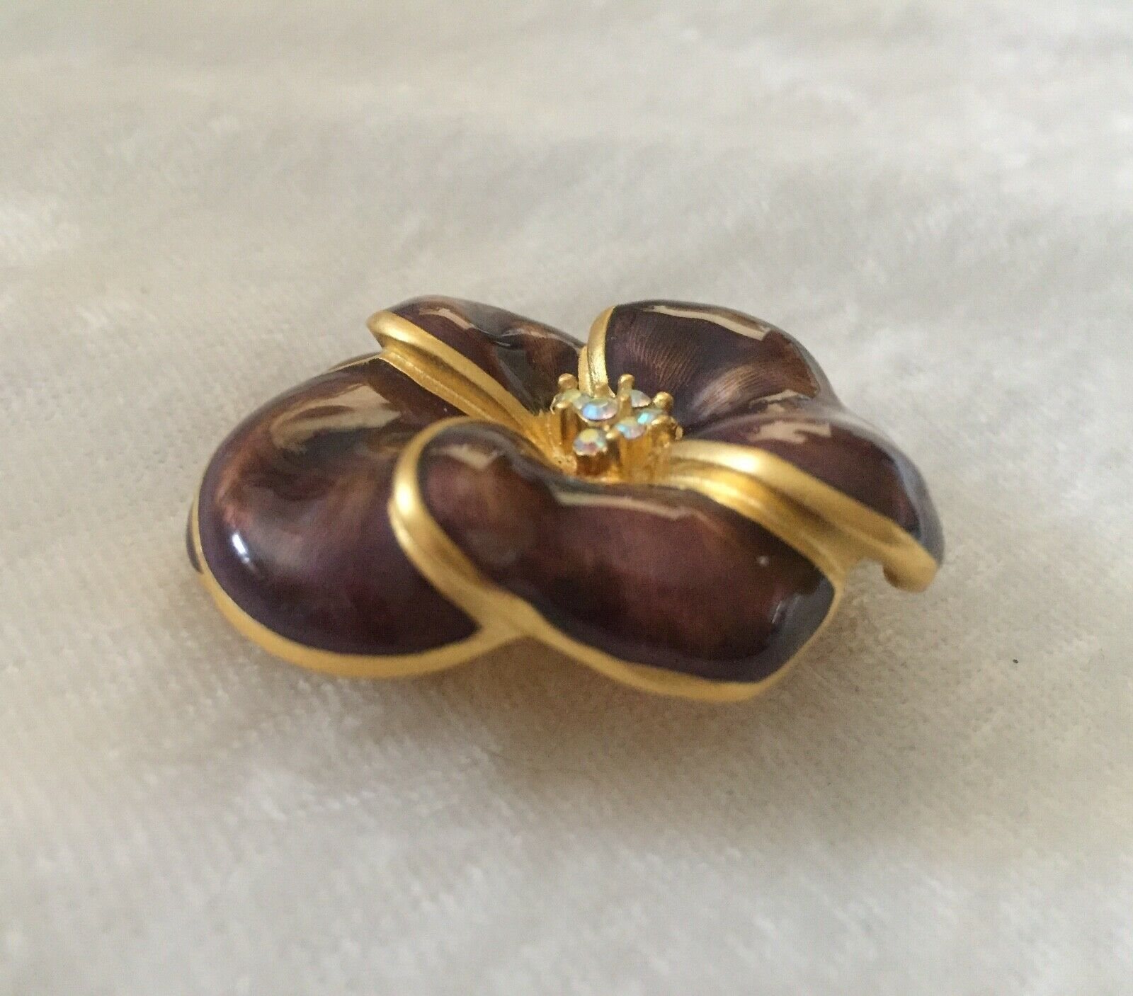 Exquisite BOB MACKIE Pansy Brooch Purple Enamel R… - image 4