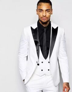 Fashion White Black 3pcs Slim Fit Men S Suits Tuxedo 40 42 44 46 48