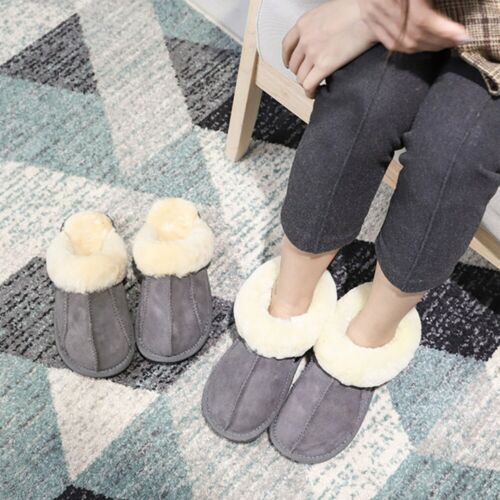 Womens Ladies Sheepskin Fur Lined Bootie Wool Ankle Boots Slippers Shoes Sizes