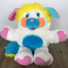Vintage 80s Mattel Popples Puffball Popple Plush Toy White Yellow Blue 12""