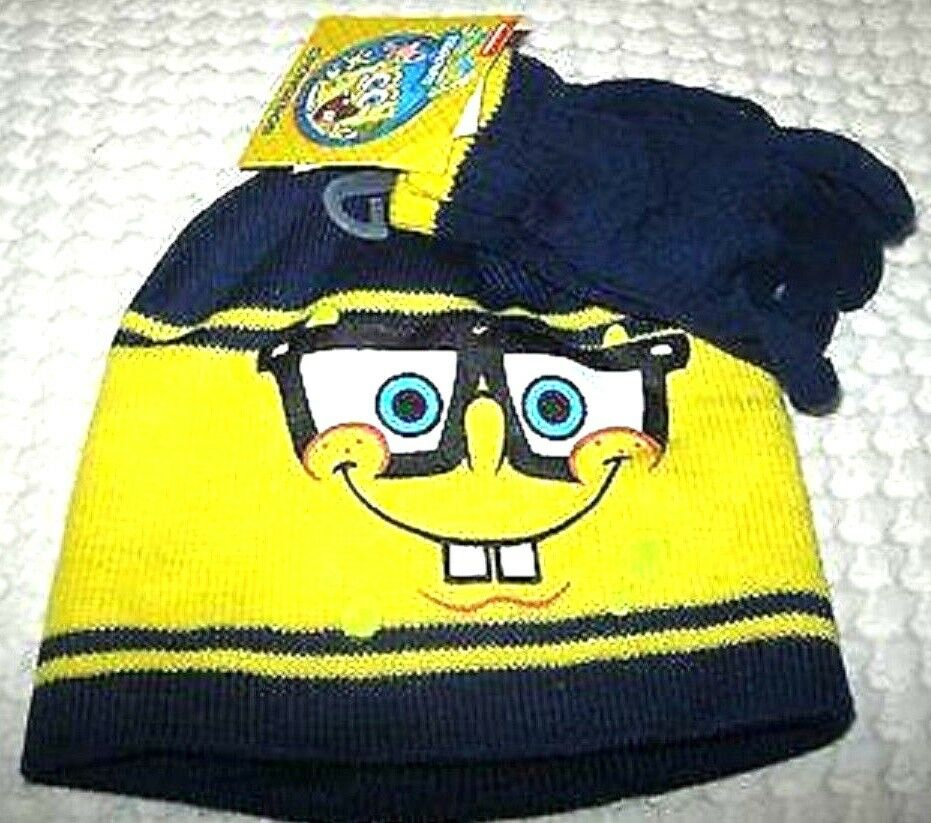 Details about Spongebob Blue and Yellow Beanie Hat and Matching Finger  Gloves Set-New f7ec90327ee
