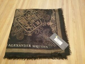 Alexander-McQueen-Scarf-Authentic-New-with-Tags-Military-Bullion-Gold-Black-Silk