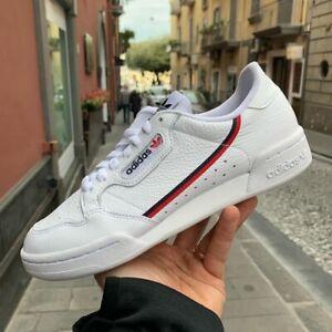 Adidas-CONTINENTAL-80-G27706-Bianco-in-pelle-striscia-rossa-blu-mod-ragazzo-a