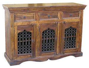 Image is loading JALI-3-DOOR-SIDEBOARD-CABINET-BEAUTIFUL-REAL-SOLID-  sc 1 st  eBay & JALI 3 DOOR SIDEBOARD CABINET BEAUTIFUL REAL SOLID INDIAN SHEESHAM ...