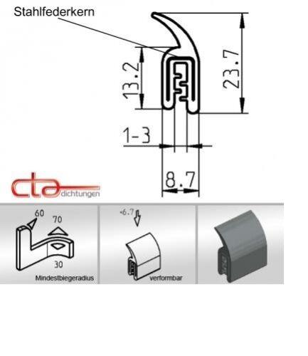 1 m Kofferraumdichtung Kederband Kantenschutz EPDM  schwarz KB 1-3 mm 1C11-29