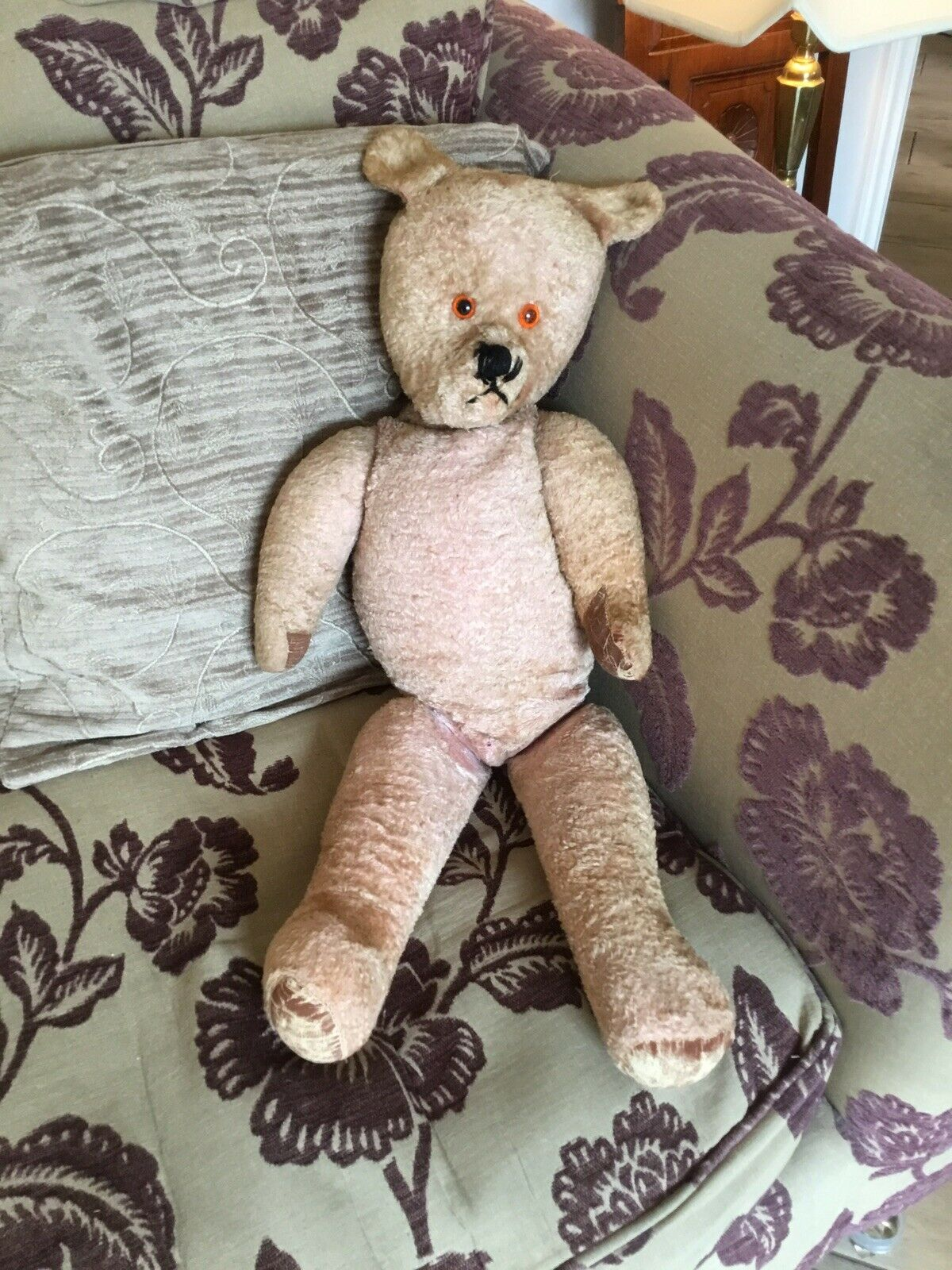 Growler 1940's/50's Large Plush Teddy Bear. 72 Cm Long. Looking for a New Home.