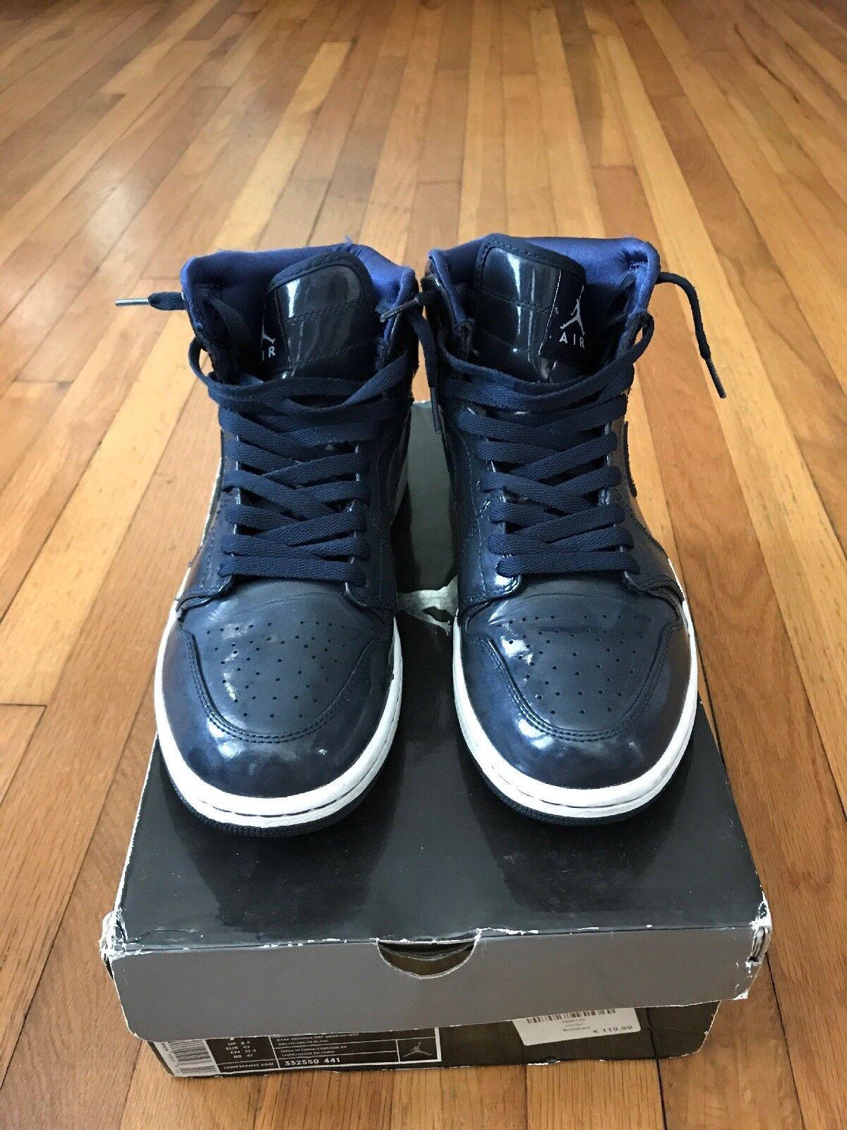 Nike Men's Air Jordan 1 Retro Sneakers - Size 9.5 US, Patent Leather bluee